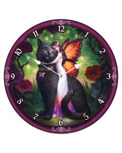 Cat and Fairy Clock (JR) 34cm