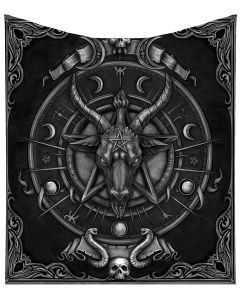 Baphomet Triple Horn Sabbatic Goat Throw Blanket New Product Launch