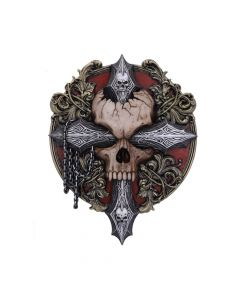 Spiral Cross Of Darkness Cross Baroque Skull and Chains Wall Plaque New in Stock