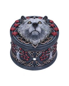 Lisa Parker Guardian of the Fall White Autumn Wolf Trinket Box New Product Launch