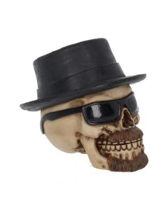 Small Badass Hat and Sunglasses Skull Figurine Skulls