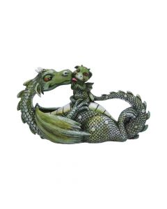 Sweetest Moment Green Dragon and Dragonling Kissing Figurine Dragons