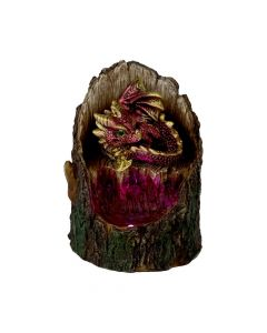 Arboreal Hatchling Red Dragon in Tree Trunk Light Up Figurine New in Stock