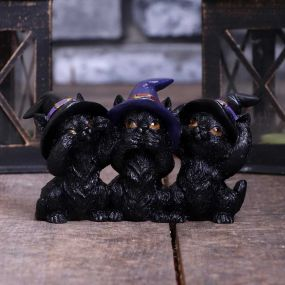 Three Wise Black Cats 11.5cm