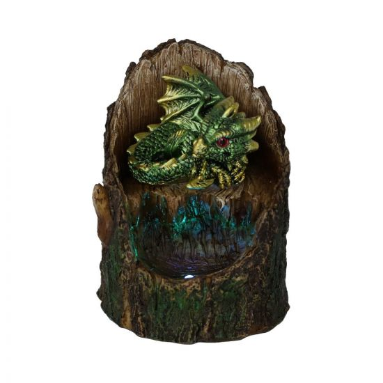 Arboreal Hatchling Green Dragon in Tree Trunk Light Up Figurine New in Stock