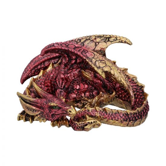 Aaden Red and Golden Resting Dragon Figurine New in Stock