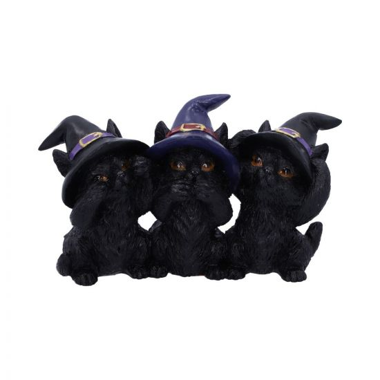 Three Wise Black Cats 11.5cm Cats New in Stock Value Range
